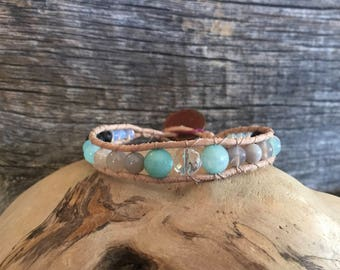 Crystal and Turquoise Genuine Leather, Single Wrap Diffuser Bracelet.