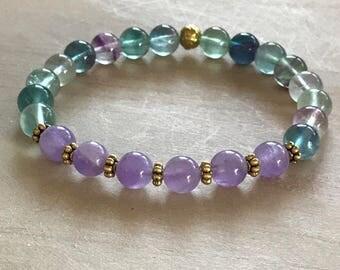 Fluorite Bracelet, Amethyst Bracelet, Healing Bracelet, Mala Bracelet, Yoga Bracelet, Spiritual Bracelet, Boho Bracelet, Fluorite, Amethyst