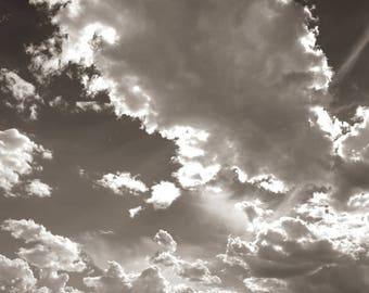 NEW MEXICO SKY, In Black and White, photographed on the way to Santa Fe, New Mexico.