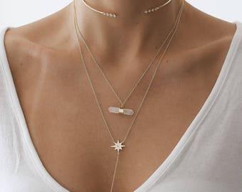 Quartz Necklace, Dainty Necklace, Gold Necklace, Gold Quartz Necklace, Layered Necklace