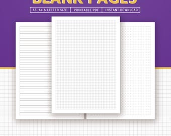 Blank Planner Printable, Blank Pages, Square Grid, Ruled, Planner Inserts, Filofax A5, A4, Letter, Planner Refills, Instant Download