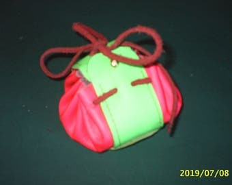 purse pink and green cowhide leather wallet