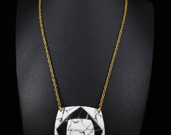 Black and white marble necklace
