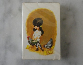 Vintage Stardust Playing Cards New in Package with Nu Vue Made in USA Little Girl with Chickens SHIPS FREE