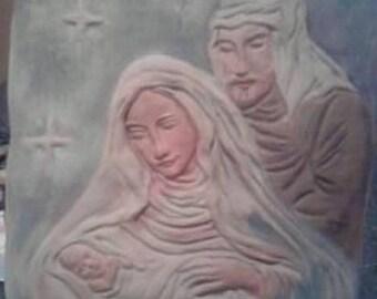 Low relief Jesus Mary Joseph