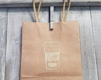 "Small embossed giftbag with handles, ""Thanks a latte!"""