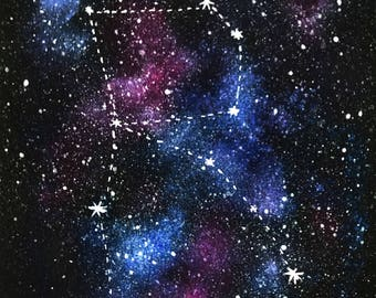 Personalised Initial, Personalized Gift, Personalised Constellation, Original Painting, Constellation, Initial, Space Art, Galaxy Wall Art
