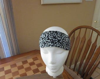Black Small Leaf Print Headband with Rhinestones