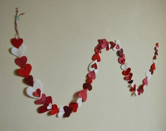 Hearts Garland, Photo Backdrop, Felted Heart Garland, Anniversary Felt Bunting, Multi Sized Hearts, Engagement Party Decor, Heart Decoration