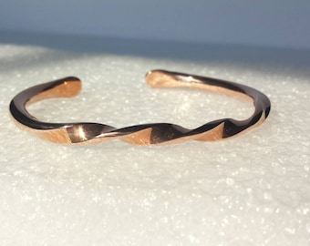 Bracelet, copper cuff, forged and twisted