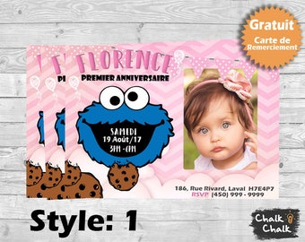 Carte d'invitation anniversaire Cookie Monster Chalkboard, Sesame Street,Carte personalisée rose, pink,premier anniversaire, bebe fille