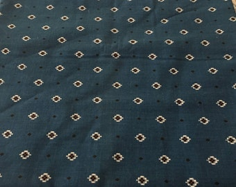 Blue Southwest Small Print Fabric 3/4 Yard