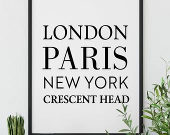 London, Paris, New York, Crescent Head      Wall Art, Digital Art, Home Decor, Travel, Destinations, Wanderlust