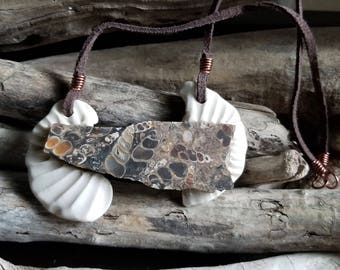 Porcelain and Turritella Agate Slab Pendant / Handmade Jewelry, Porcelain Jewelry, Ceramic Jewelry