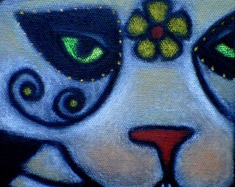 day of the dead dias de los muertos skeleton cat cat art sugar skulls