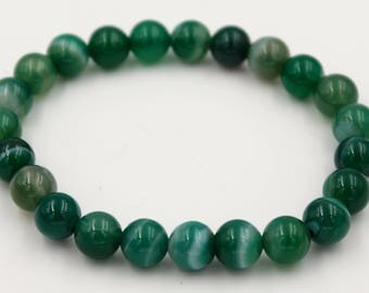 Green agate Bead Bracelet 8mm