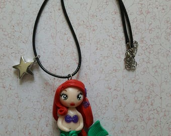 Necklace girl Disney, Little Mermaid / mermaid, Ariel Fimo polymer clay, handmade.