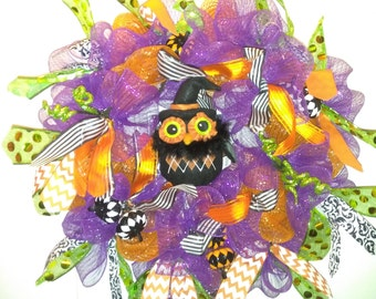 Owl Halloween wreath