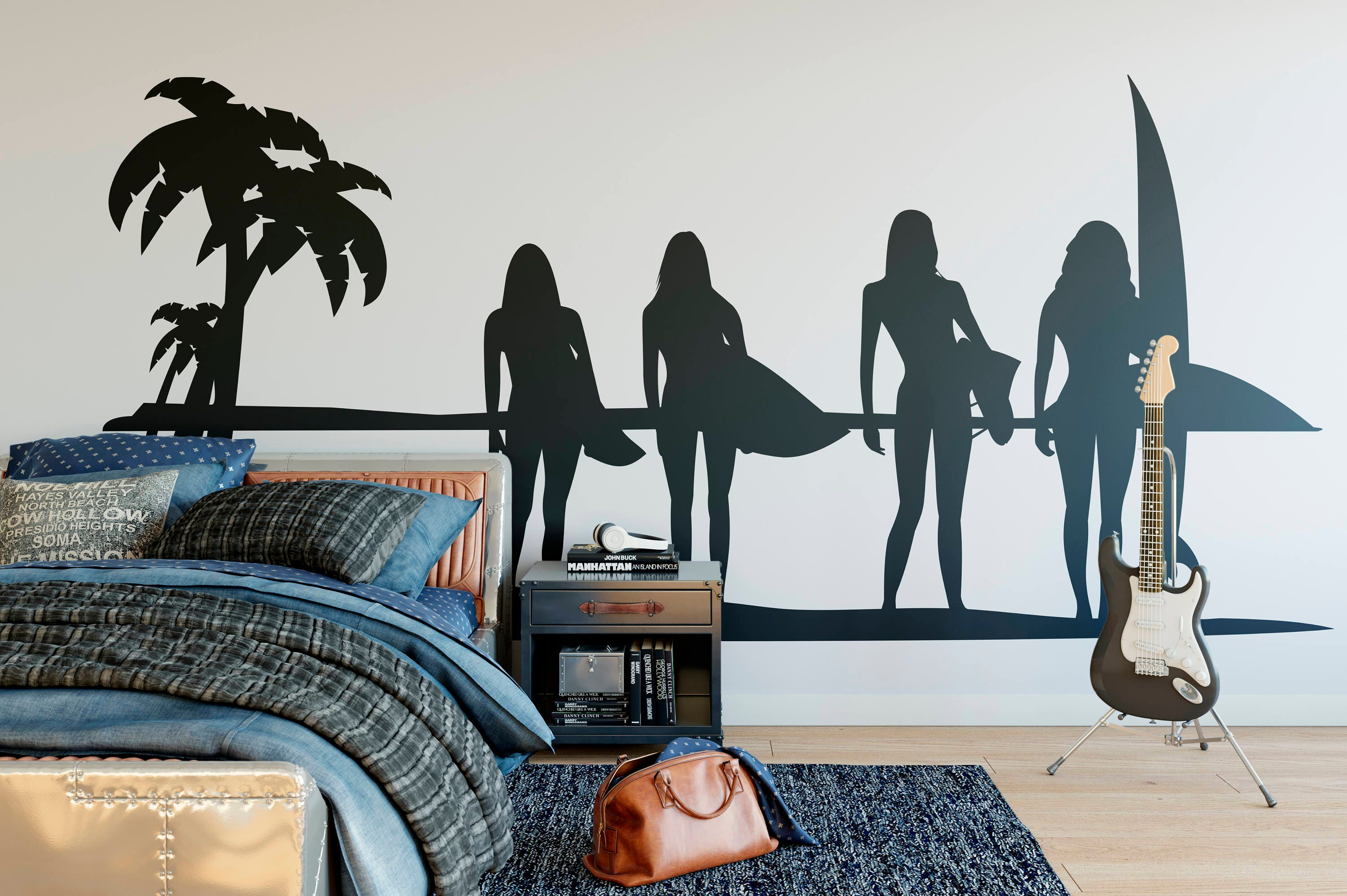Sunset ocean surf girl summer wall decal for surfers or surfing sunset ocean surf girl summer wall decal for surfers or surfing enthusiasts surfer surfing wave ocean water swim wave hang loose beach amipublicfo Gallery