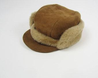vintage Sheepskin Shearling Leather Fur Trapper hat winter retro size 57