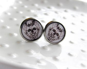 Skull and Moon Moth Pattern - Stainless Steel stud earrings - 12mm round - Epoxy resin - Occult Symbolism - Sensitive Earrings - Valentine's