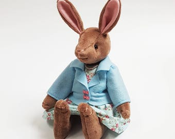 Lady Rabbit Soft Toy / Lady Bunny Articulated Doll / Handmade Plushie / Stuffed Animal