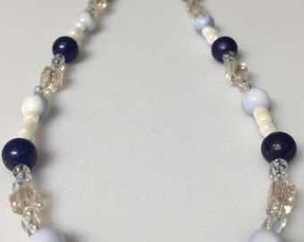 Lapis, Crystal and white seed bead necklace
