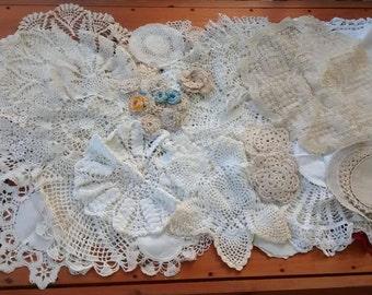 Huge Vintage Doily Lot, White, Ivory, Ecru, Cotton, Linen, Crocheted, Wedding, Handmade