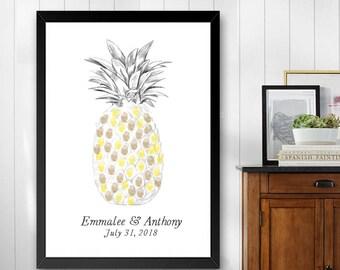 Pinapple Thumbprint Guestbook Print, Hawaiian Theme, Beach, Fingerprint Guest Book, Wedding, Bridal Shower, Family Reunion (8 x 10- 24 x 36)