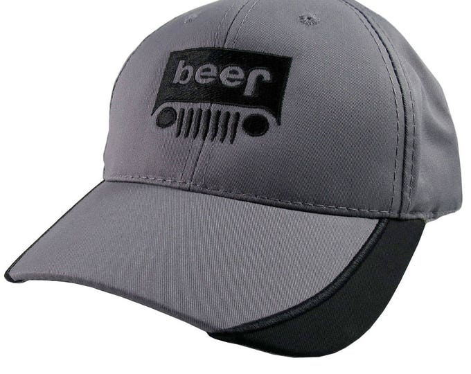 Beer Jeep Parody Black Embroidery Decoration on an Adjustable Structured Charcoal and Black Trimmed Visor Baseball Cap