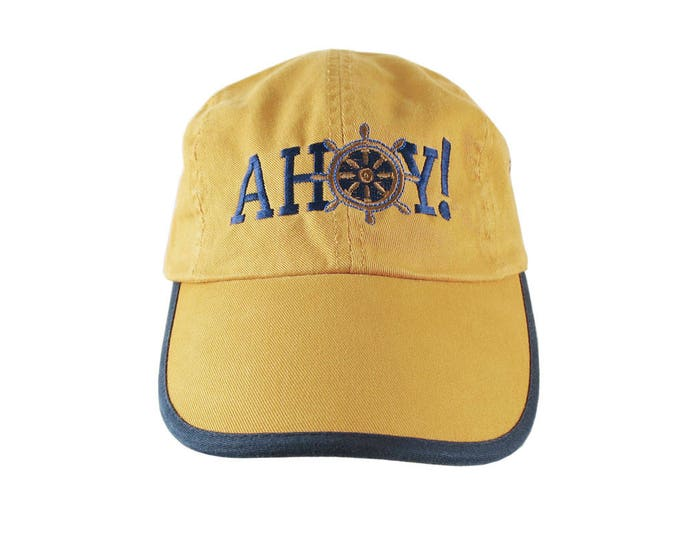 Ahoy! Nautical Boat Wheel Greeting Embroidery on a Polo Style 5 Panel Adjustable Mango and Navy Unstructured Cap for the Boating Enthusiast