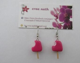 earring type polymer clay raspberry ice
