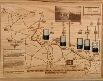 Final Overlord Plan Map June 6, 1944 D-Day Invasion Beach Sand From Normandy
