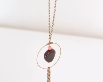 Brass, Black Pearl Necklace