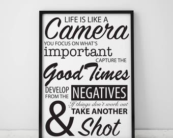 Life Is Like A Camera Inspirational Quote Archival Print A4, A3 & A2