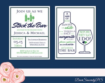 Stock the Bar Customized Printable Couples Shower Invite