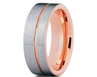 tungsten wedding band rose rose gold tungsten ring tungsten carbide ring men women comfort fit - Tungsten Wedding Rings For Men