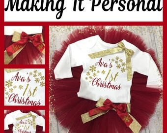 Girls 1st Christmas Cake Smash Outfit Red and Gold Tutu & Vest Personalised READY 2 POST !!