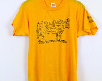 Vintage 1970s Cow Parts Graphic Design T Shirt / Butcher / Chart / 50 50 / Yellow / Medium / Trucker / Meat / Carnivore / Cow / Hamburger /