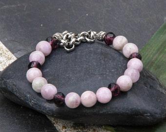 Beaded bracelets, women bracelet, bracelet ,kunzite, crystal glass,  clasp, stainless steel, adjustable, handmade, valentine's day