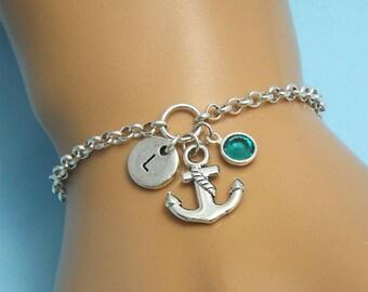 Anchor charm bracelet Anchor gift Anchor jewellery Initial Anchor bracelet silver Anchor bracelet woman Nautical bracelet Anchor jewelry