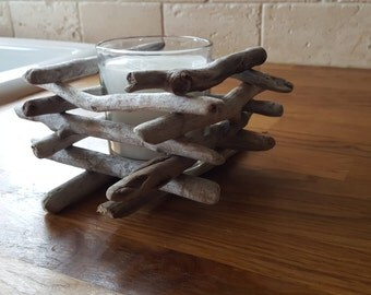 Etsy acheter vendre et vivre handmade for Porte bougie bois flotte