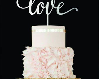Love cake topper gold Wedding Cake Topper love Wood Cake Topper Love sign Custom Cake Topper Engagement Cake Topper  Gold Love Cake Topper