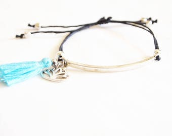 Adjustable lotus and sliding knot, hippie chic bohemian tassel bracelet
