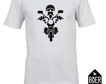 Biker, T-shirt black or white, size S, M, L, XL