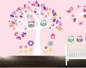 Owl tree wall decal, Girl's room wall decals, Owls, Baby girl, Girl's owl stickers, Girl's room, Purple, Teal, PInk, Polka dots, Flowers