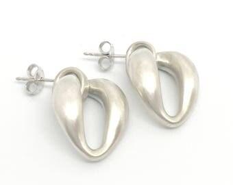 Brushed Sterling Silver Earrings