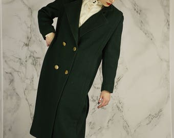 Vintage 80's Dark Green Double-Breasted Wool Overcoat With Gold Buttons   Made in USA   M   L