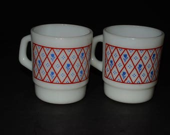 2, Milk Glass, Termocrisa, stackable mugs, Coffee mugs, Tea Cups, Mexico, 1960s, C handle, Milk glass, crisscross pattern, blue flower