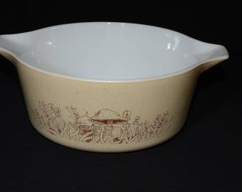Vintage, PYREX, Forest Fancies, 475, Cinderella, Casserole Dish, with Lid, 475-B, 2 1/2 Quart, 1980s, Vintage, Brown, Beige, Mushroom